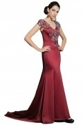 Modern Sheath V Neck Satin Court Train Red Embroidery Prom Dress