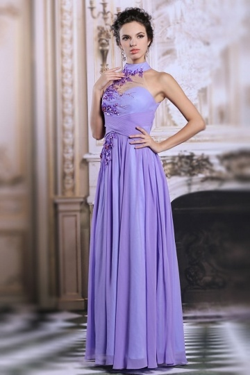 Dressesmall Modern Chiffon High Neck Flowers Long Purple Formal Bridesmaid Dress