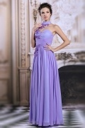 Modern Chiffon High Neck Flowers Long Purple Formal Bridesmaid Dress