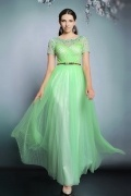 Modern Tulle Green Bateau A Ling Prom Dress With Sleeves