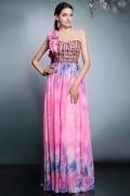 Robe de bal exotique imprimé à motifs fleurs et papillons en mousseline