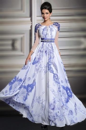 Elegantes A-Linie blaues Bodenlanges Chiffon Abendkleid mit Ärmeln Persun