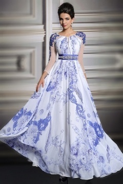 Elegantes A-Linie blaues Bodenlanges Chiffon Abendkleid mit Ärmeln