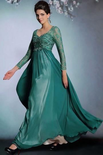 Vintage grün A Linie Bodenlang Chiffon Abendkleid mit ...