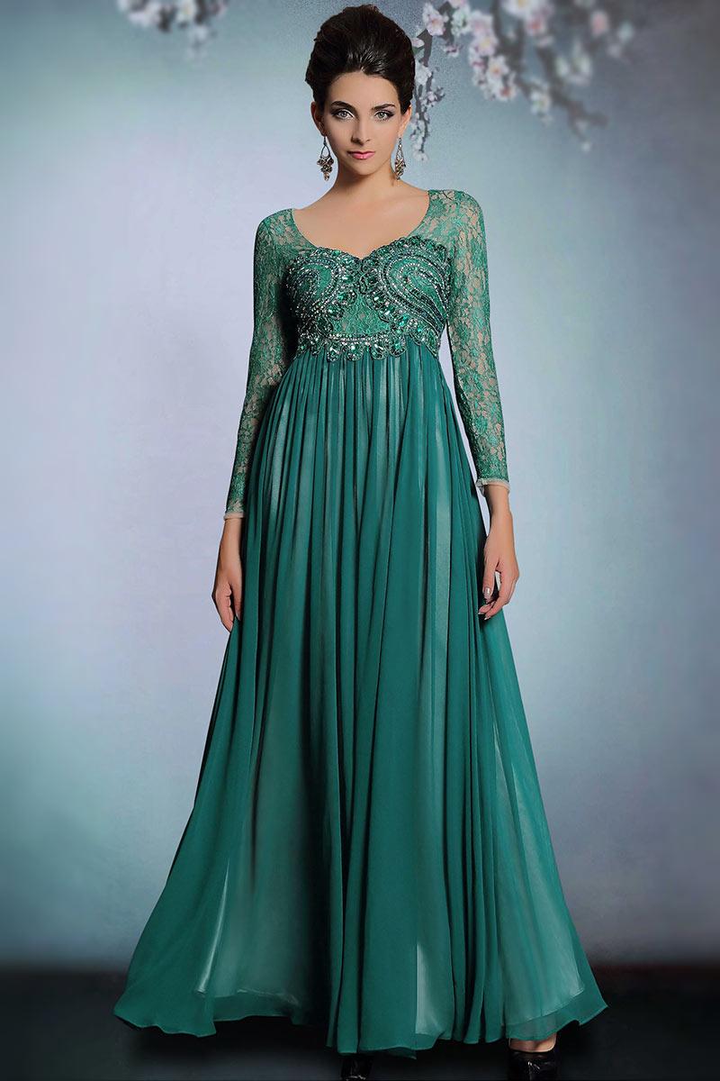 Vintage grün A Linie Bodenlang Chiffon Abendkleid mit