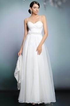 Robe ivoire de mariée moderne avec veste dentelle ornée de bijoux