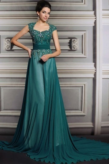 Dressesmall Gorgeous Green Chiffon Court Train A Line Evening Dress With Sleeves