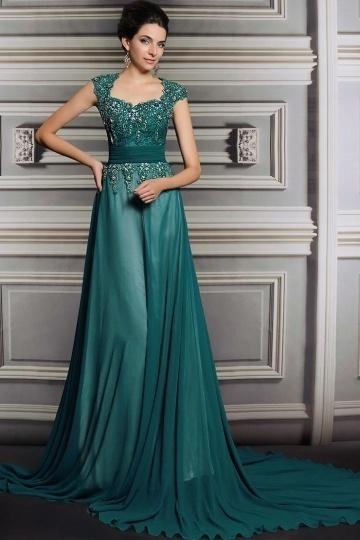 Chic A-Linie grünes langes Abendkleid mit Ärmeln aus Chiffon Persun