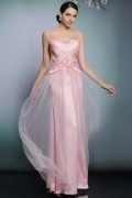 Chic Scoop Sleeveless Flower Tulle Long Pink Evening Dress