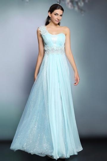 Dressesmall Modern Chiffon One Shoulder Appliques Long Blue Formal Bridesmaid Dress