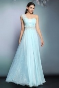 Modern Chiffon One Shoulder Appliques Long Blue Formal Bridesmaid Dress