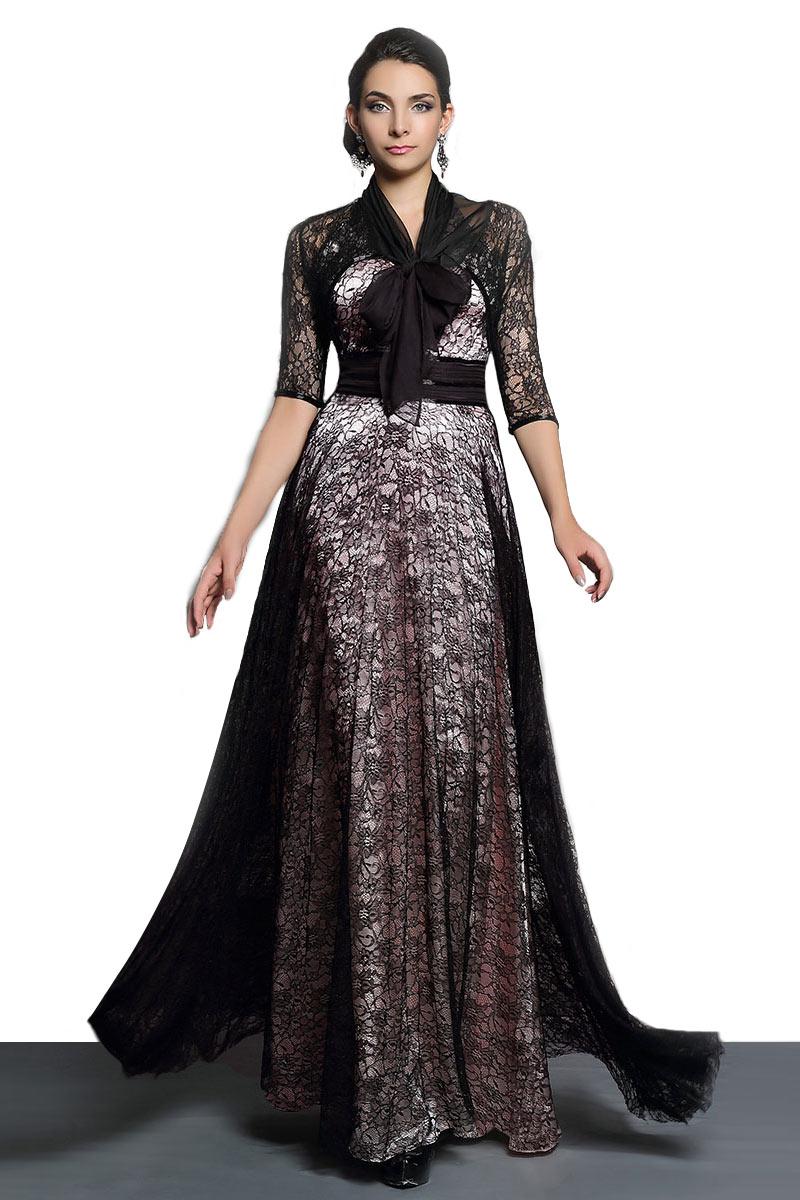 Modern half sleeves halter sheer back lace black evening for Modern house dress