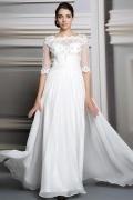Schlichtes weißes A-Linie Chiffon Bodenlanges Abendkleider mit Ärmeln