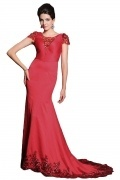 Chic Red Satin Scoop Court Train Beading Evening Dress With Sleeves