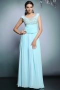 Modern Scoop A Line Sleeveless Chiffon Blue Evening Dress