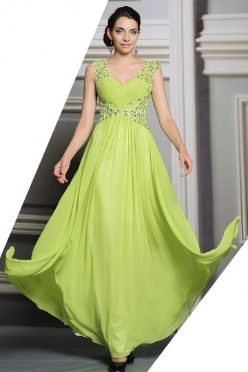 Dressesmall Sexy Chiffon V Neck A Line Green Long Beading Evening Dress