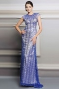 Sexy A Line Jewel Sleeveless Beading Court Train Blue Evening Dress