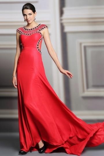 Dressesmall Elegant Red A Line Jewel Court Train Sequins Evening Dress