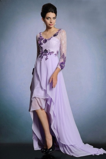Dressesmall Chic Purple Chiffon High Low Sweep Train Evening Dress With Sleeves