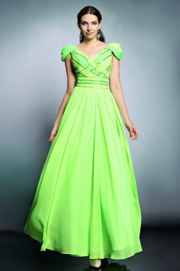 Dressesmall Sexy V Neck A Line Chiffon Green Prom Dress With Cap Sleeves