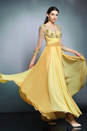 Dressesmall New Yellow Bateau Chiffon A Line Long Prom Dress With Sleeves