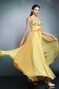 Modernes gelbes A-Linie Chiffon Boot-Ausschnitt Abendkleid