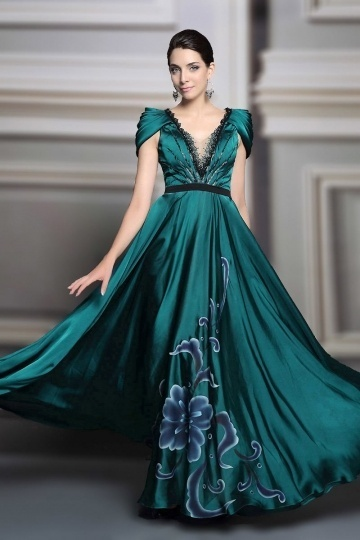 Dressesmall Sexy V NECK Satin A Line Long Green Evening Dress With Sleeves