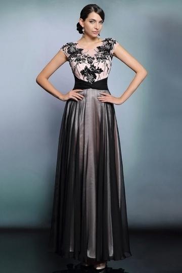 Elegant Chiffon Color Block Long Beading Formal Dress With Sleeves