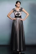 Elegant Chiffon Color Block Long Beading Evening Dress with Sleeves