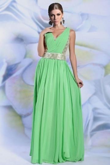 Dressesmall Modern A line V neck Sequins Green Long Chiffon Evening Dress