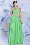 Modern A line V neck Sequins Green Long Chiffon Evening Dress