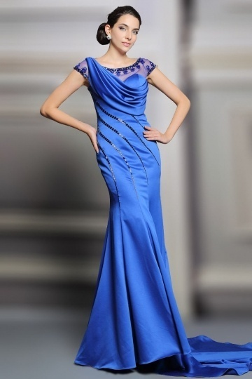 Dressesmall 2015 New Sheath Blue Satin Scoop Court Train Formal Dress With Sleeves
