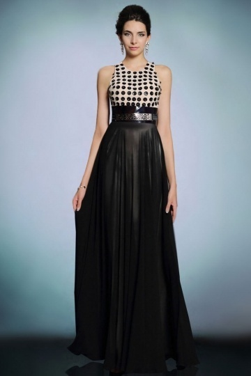 Modern Chiffon Jewel A Line Color Block Long Formal Dress