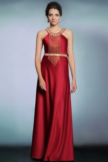 Dressesmall Modern Red Satin Jewel A Line Floor Length Tassel Evening Dress