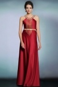 Modern Red Satin Jewel A Line Floor Length Tassel Evening Dress