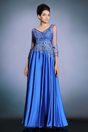 Dressesmall Sexy V Neck A Line Blue Satin Long Evening Dress With Sleeves