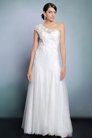 Schönes weißes A-Linie Ein Schulter langes Abendkleider aus Spitze Persun