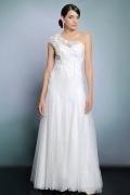 Schönes weißes A-Linie Ein Schulter langes Abendkleider aus Spitze