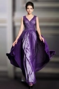 Sexy V Neck Purple A Line Chiffon Long Beading Evening Dress