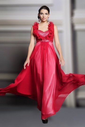 Dressesmall Chic Red Sweetheart A Line Chiffon Long Sequins Evening Dress