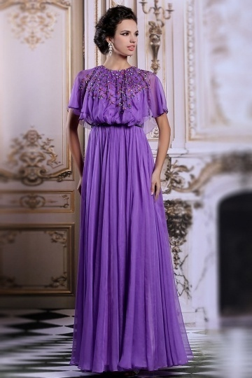 Modern Purple Long Jewel Chiffon Beading Evening Dress with Sleeves ...