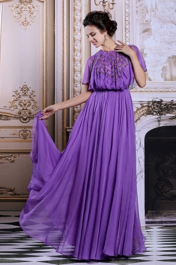 Dressesmall Modern Purple Long Jewel Chiffon Beading Formal Dress With Sleeves