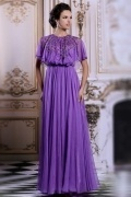 Modern Purple Long Jewel Chiffon Beading Formal Dress With Sleeves