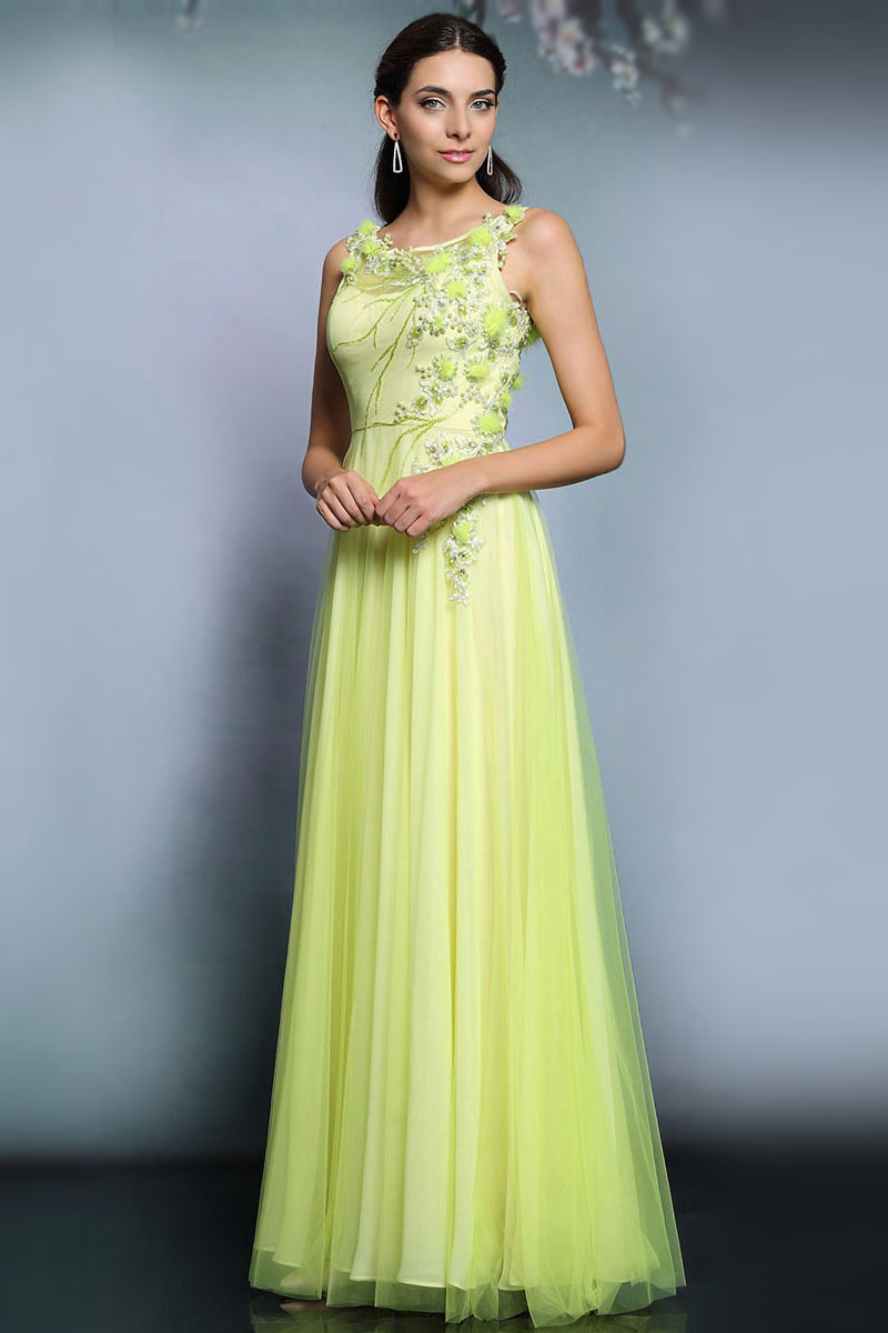 Modern Formal Attire: Modern Tulle A Line Bateau Sequins Long Formal Dress