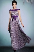 Elegant Purple Lace Bateau A Line Long Formal Dress With Bow