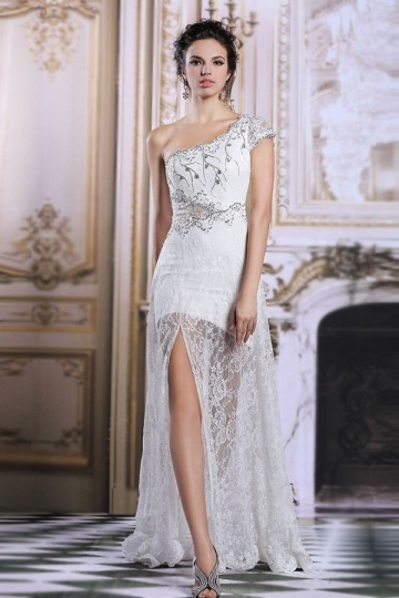 Dressesmall 2015 Chic One Shoulder White Lace Sweep Train Formal Dress With Sleeves