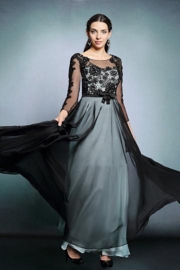 Dressesmall Modern Black Chiffon Bateau A Line Long Evening Dress With Sleeves