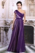 Chic One Shoulder Purple Chiffon Long Evening Dress With Sleeves