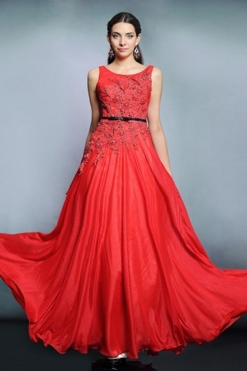 Dressesmall 2015 Sexy Red Chiffon Bateau Long Sequins Formal Dress