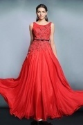 2015 Sexy Red Chiffon Bateau Long Sequins Formal Dress